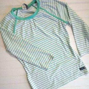 Sperry Rash Guard green and white striped crew